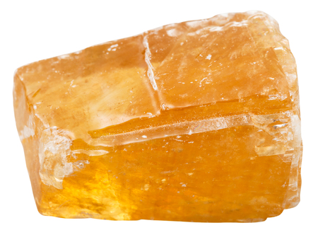 calcite: macro shooting of collection natural rock - orange Calcite mineral stone isolated on white background Stock Photo