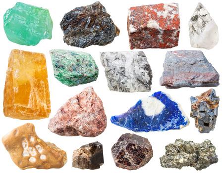 ferruginous: calcite, lamprophyllite, jasper, rock-crystal, Fuchsite, magnesite, ferruginous quartzite, granitic gneiss, lazurite, galena, flint, morion, Tourmaline Dravite, pyrite gem stones isolated on white