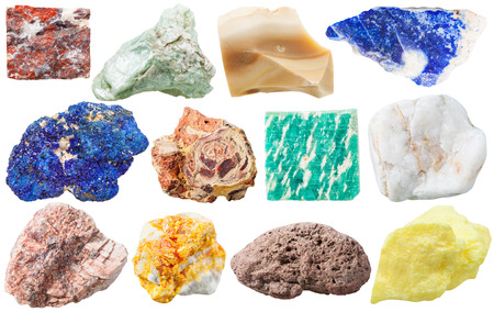 soapstone: set of different mineral rocks and stones - jasper, talc, flint, lazurite, azurite, bauxite, amazonite, marble, granite, Orpiment, pumice, sulfur gem stones isolated on white background