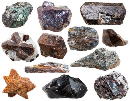 cuprite: various natural rocks and stones - malachite, obsidian, gneiss, lamprophyllite, morion, staurolite, tourmaline dravite, cuprite, glendonite, calcite, biotite, kyanite, schist, gem stones isolated