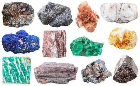 amazonite: various mineral rocks and stones - lamprophyllite, galena, Aragonite, marble, azurite, aventurine, Malachite, Orpiment, amazonite, ferruginous quartzite, lead glance, Tourmaline Dravite gem stones