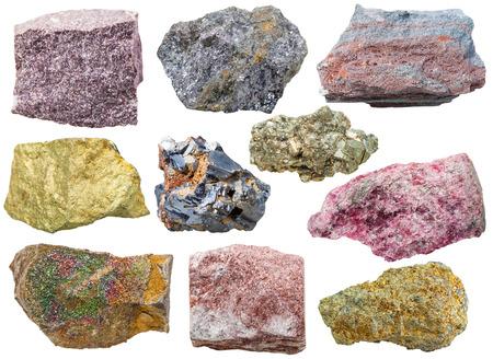 ferruginous: set of various glossy mineral rocks and stones - alunite, galena, ferruginous quartzite, Chalcopyrite, pyrite, eudialyte, aventurine, gem stones isolated on white background Stock Photo