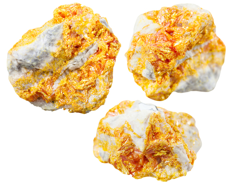 dolomite: macro shooting of collection natural rock - set of Orpiment mineral stones on dolomite isolated on white background