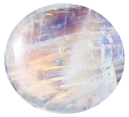 opalescent: cabochon from moonstone natural mineral gem stone isolated on white background