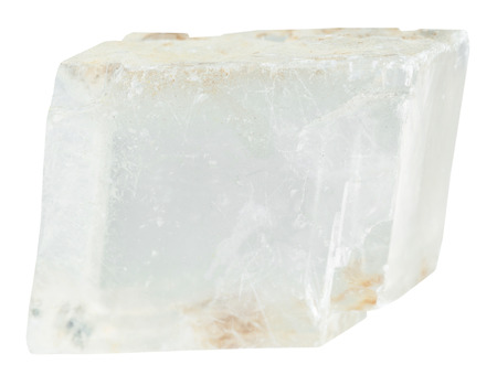 spar: macro shooting of collection natural rock - transparent iceland spar mineral stone isolated on white background