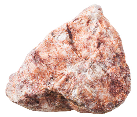 pink granitic gneiss rock natural mineral stone isolated on white background