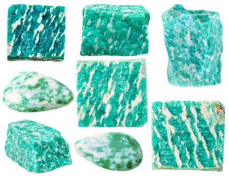 amazonite: macro shooting of collection natural rock - various green amazonite amazon stone mineral gem stones isolated on white background