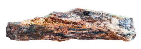 schist: macro shooting of collection natural rock - Schist mineral rock with mica and red Aventurine feldspar isolated on white background