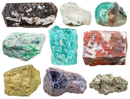 cuprite: set of various mineral rocks and stones - Tourmaline Dravite, rock crystal, Malachite, Fuchsite, amazonite, jasper, Chalcopyrite, Cuprite, pyrite gem stones isolated on white background