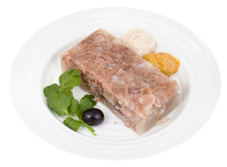 solidify: piece of beef jelly with seasonings on white plate isolated on white background
