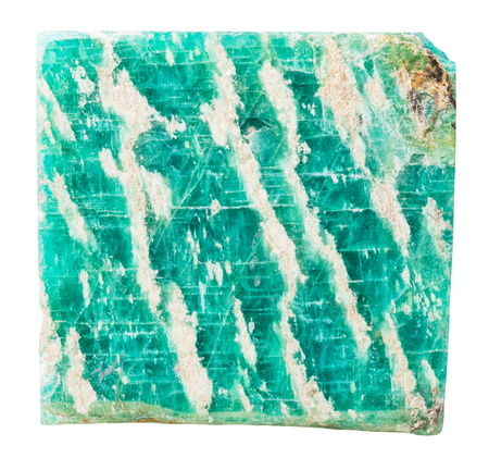 amazonite: macro shooting of collection natural rock - specimen of amazonite mineral stone isolated on white background
