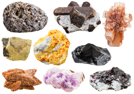 aragonite: collection of various mineral crystals and stones - pumice, staurolite, Aragonite, Chalcopyrite, Orpiment, Obsidian, glendonite, amethyst, gneiss with kyanite, biotite,tourmaline gem stones isolated