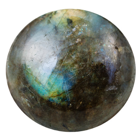 cabochon from labradorite natural mineral gem stone isolated on white background