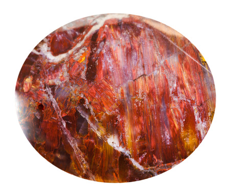 opalescent: cabochon from red sunstone natural mineral gem stone isolated on white background