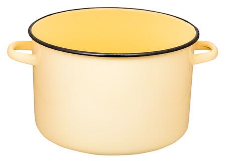 stockpot: classic big yellow enamel stockpot isolated on white background