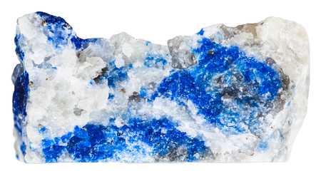 macro shooting of collection natural rock - azure lazurite mineral stone with pyrite crystals isolated on white background Imagens