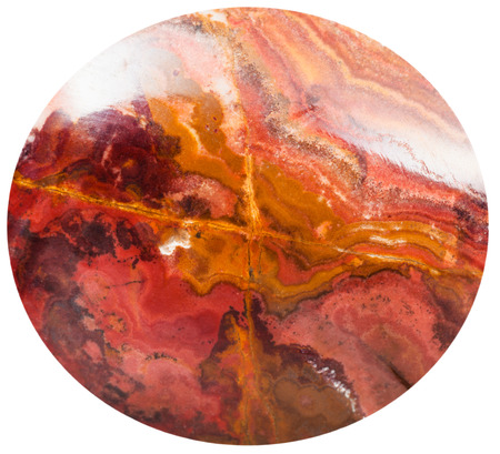 cabochon: cabochon from brecciated jasper natural mineral gem stone isolated on white background Stock Photo