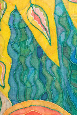 Fond textile - jaune et vert abstrait main motif peint sur batik de soie Banque d'images - 51498126