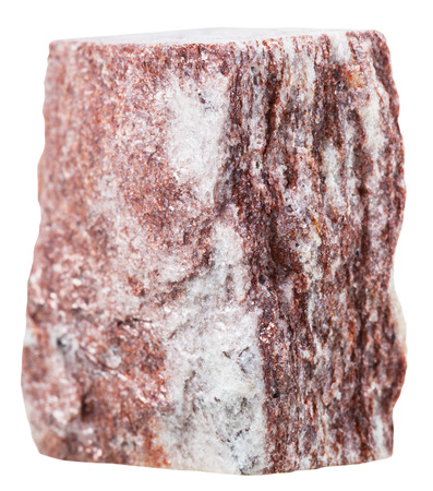 macro shooting of collection natural rock - red aventurine mineral gemstone isolated on white background