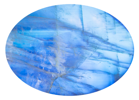 cabochon: cabochon from blue moonstone (adularia) natural mineral gem stone isolated on white background Stock Photo