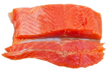 slightly: slice and piece of slightly salted trout red fish fillet piece isolated on white background