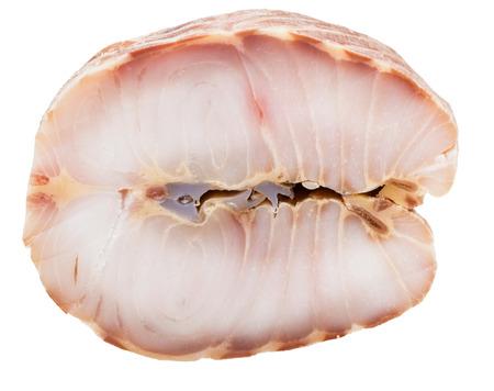 stellate: steak of hot smoked stellate sturgeon fish isolated on white background