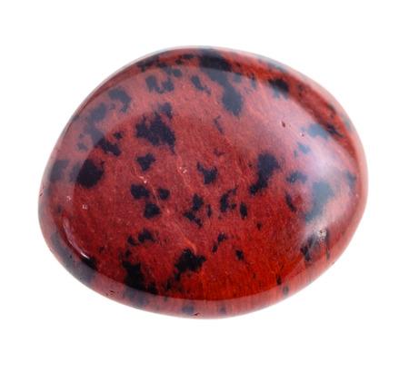 cabochon: natural mineral gem stone - tumbled Mahogany Obsidian gemstone isolated on white background close up