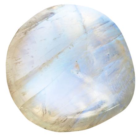 白い背景に分離されて転落させたムーンス トーン (長石) 自然鉱物宝石石 写真素材