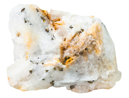 quartzite: macro shooting of collection natural rock - pyrite crystals in silica mineral stone isolated on white background