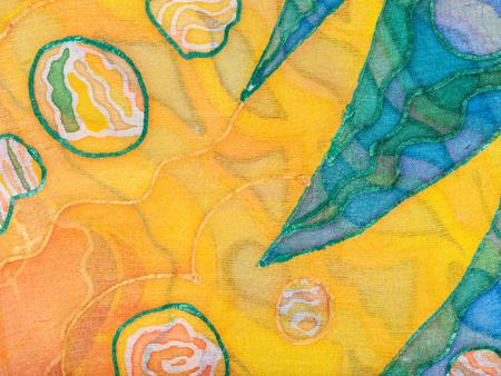 Fond textile - main abstraite ornement jaune et vert peint sur batik de soie Banque d'images - 51498783