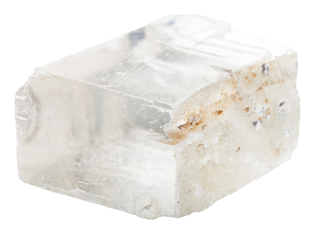spar: macro shooting of collection natural rock - iceland spar mineral stone isolated on white background