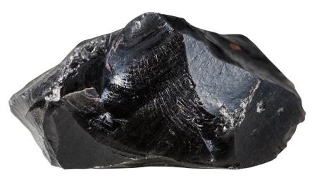 コレクション自然の岩 - 黒い黒曜石 (火山からす) 鉱物石の白い背景で隔離のマクロ撮影