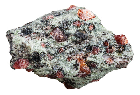 white stones: macro shooting of natural mineral stone - Eclogite stone with garnet (red) and omphacite rock isolated on white background Stock Photo