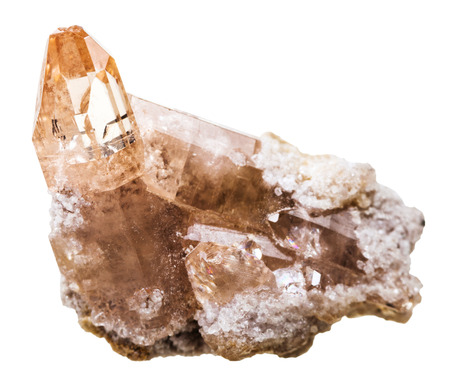 topaz: macro shooting of natural mineral stone - topaz crystal at druse isolated on white background