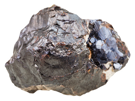 macro shooting of natural mineral stone - sphalerite (marmatite) rock isolated on white background