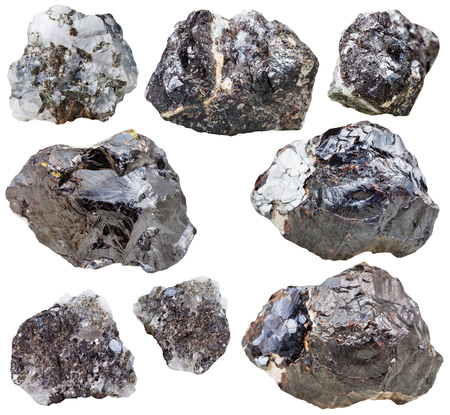 sphalerite: set of natural mineral stones - specimens of sphalerite gemstones and rocks isolated on white background