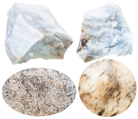 cabochon: set of natural mineral stones - specimens of anhydrite cabochon gemstones and rocks isolated on white background Stock Photo