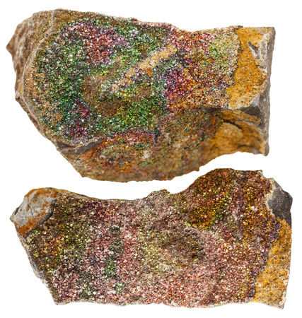 crystalline gold: macro shooting of natural mineral stone - rainbow ( iridescen) pyrite mineral rocks isolated on white background