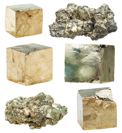 specimens: set of natural mineral stones - specimens of cristalline pyrite gemstones isolated on white background