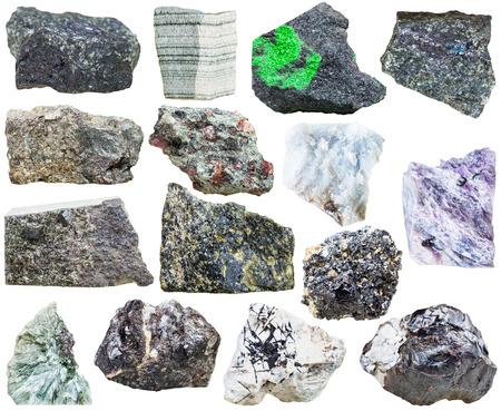sphalerite: set of natural mineral rock stones - bornite, perovskite, ilmenite, sphalerite, anhydrite, eclogite, uvarovite, diopside, charoite, arsenopyrite, clinkstone, clinochlore, skarn, epidote isolated