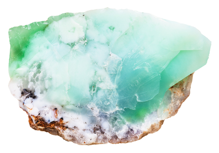 macro shooting of natural mineral stone - Chrysoprase ( chrysophrase, chrysoprasus, green chalcedony) crystalline gemstone isolated on white background Archivio Fotografico