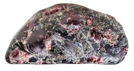 tumbled: macro shooting of natural mineral stone - pebble with tumbled garnet (almandine) gemstones in rock isolated on white background