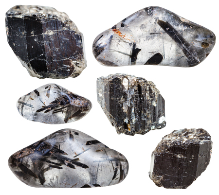 quarz: set of natural mineral stones - specimens of schorl (black tourmaline) in crystals and tumbled quarz gemstones and rocks isolated on white background