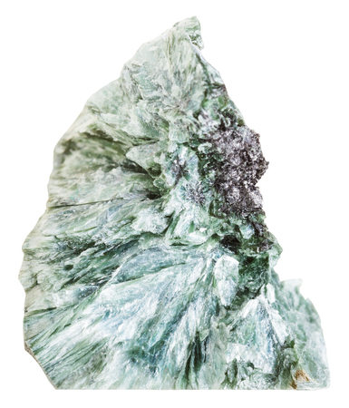 crystalline: macro shooting of natural mineral stone - clinkstone ( clinochlore, Chlorite) crystalline gemstone isolated on white background Stock Photo