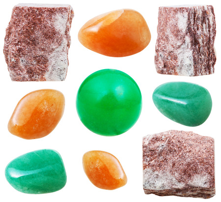 tumbled stones: set of natural mineral stones - specimens of natural aventurine tumbled gemstones and rocks isolated on white background