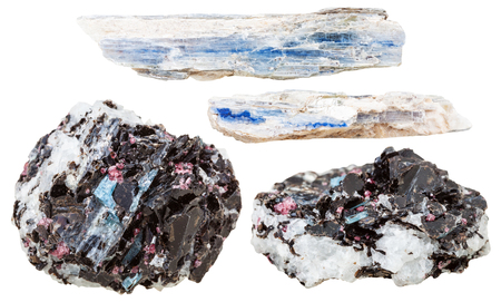 specimens: set of natural mineral stones - specimens of blue kyanite crystals in mica and gneiss rocks isolated on white background