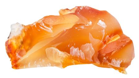 piedras preciosas: fotografía macro de la piedra mineral natural - cornalina (cornalina, ADRS, calcedonia) piedra preciosa cristalina aislada en el fondo blanco Foto de archivo
