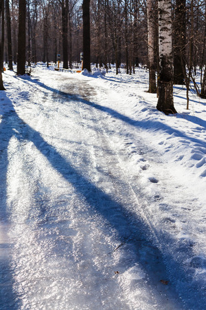 frost bound: slippery pathway in urban park in sunny winter day