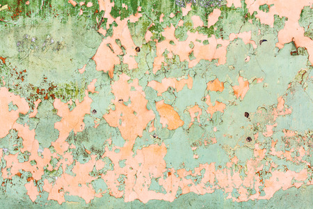 panelling: background from peeling paint on wall of old house