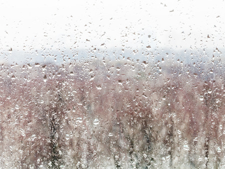windowpane: water drops from melting snow on home windowpane in winter Stock Photo